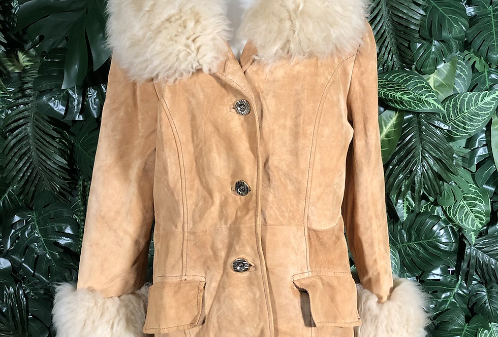 1970s shag collared coat