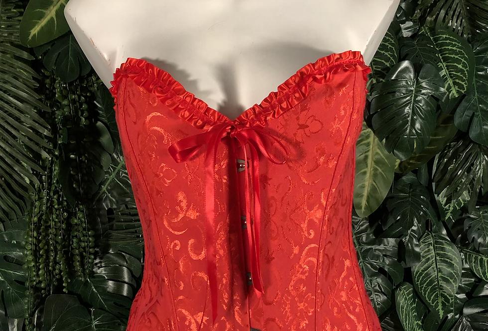 Red brocade steel bones corset