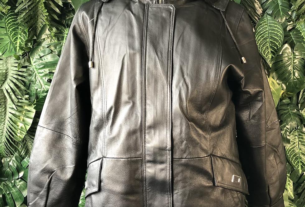 Croft & barrow leather hoodie coat