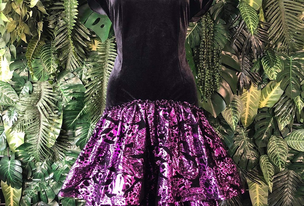 1980s velvet & matalic underskirt dress