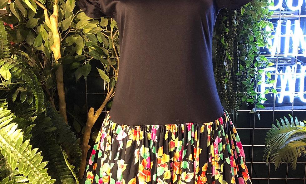 1980s floral underskirt dress