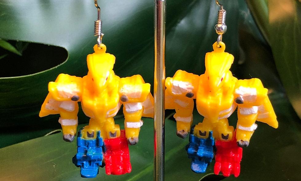 Yellow robot earrings