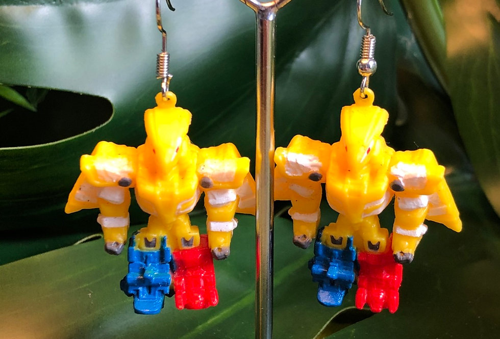 Yellow robot earrings