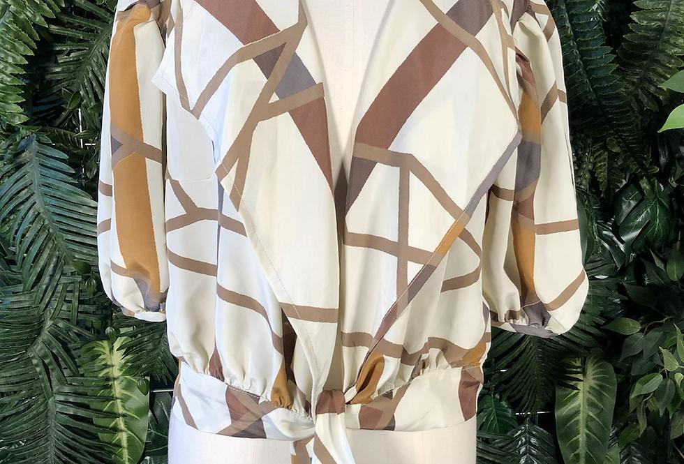 90s tie blouse