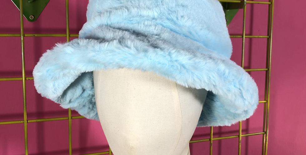 Sky blue faux fur hat