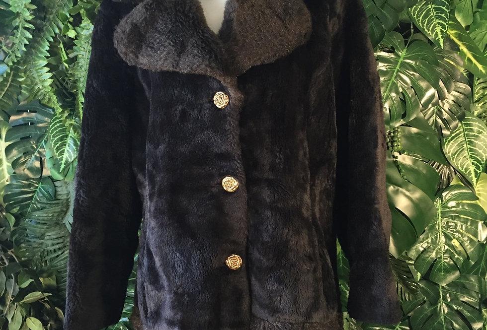 Two tone faux fur coat (L)