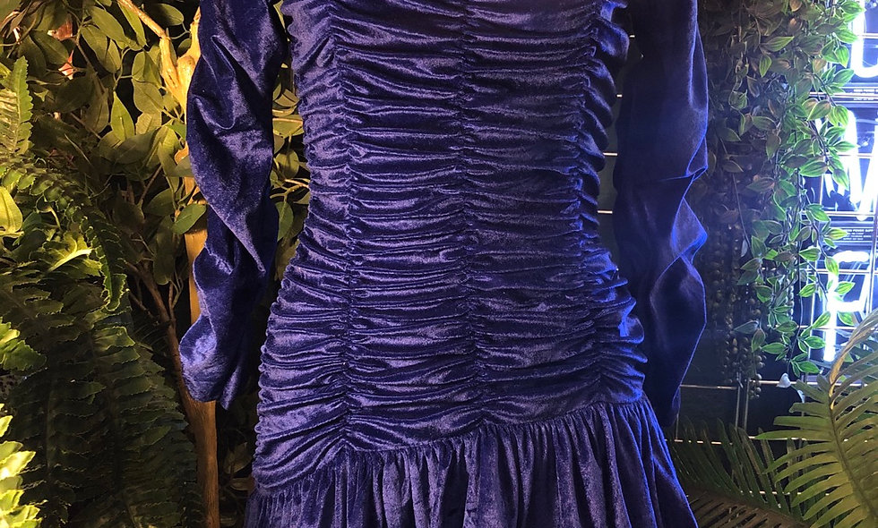 Royal blue crushed velvet 80s dress