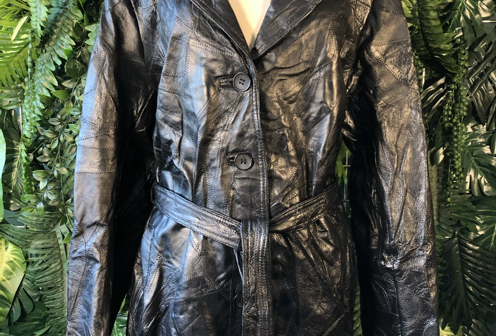 Le world fine leather patchwork trench