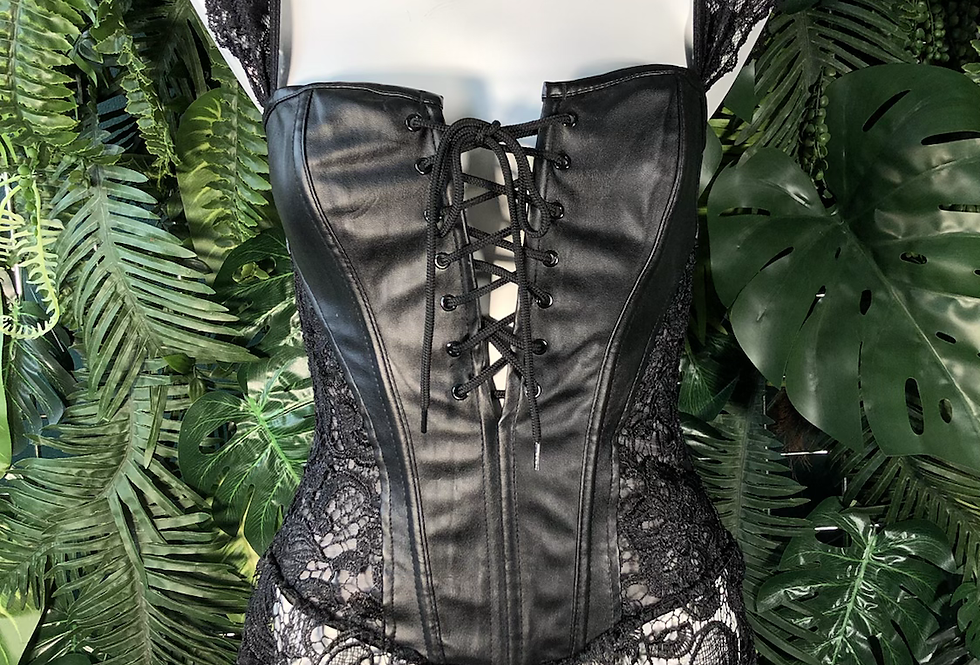 Black lace and pvc corset
