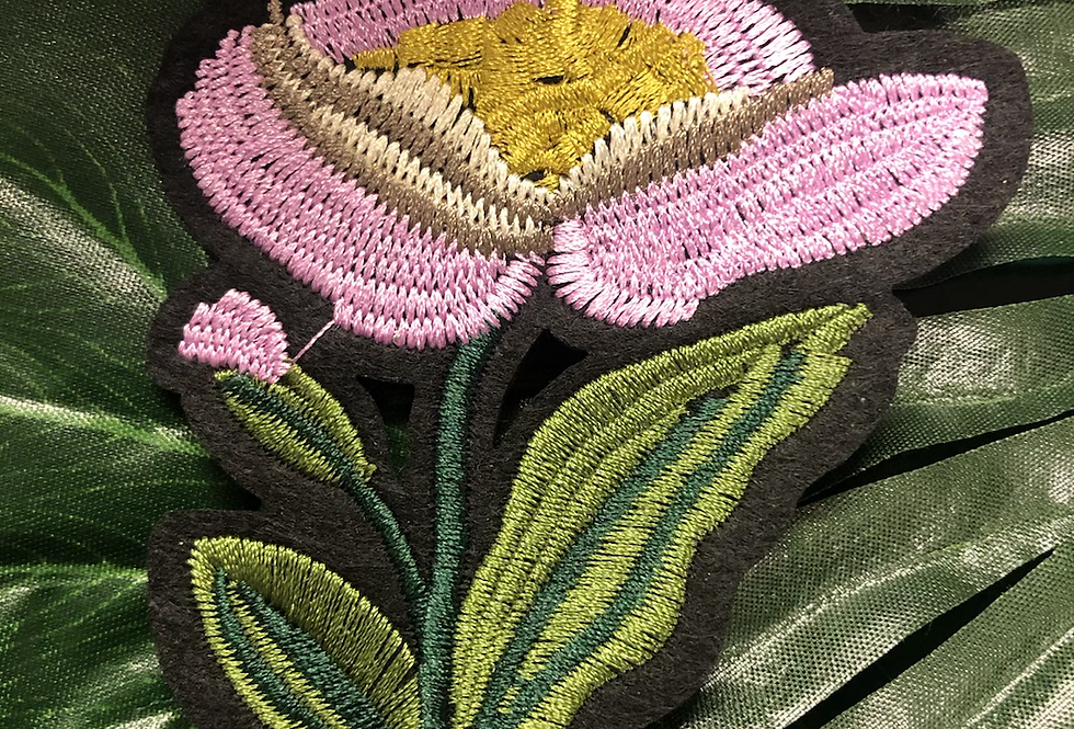 Floral iron on badge medium