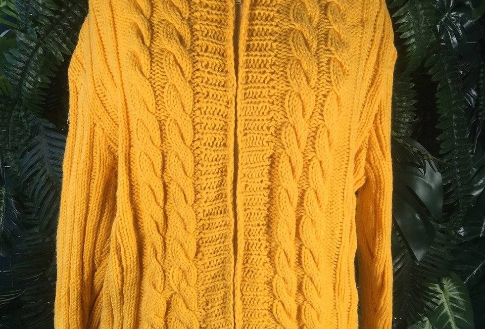 Hand Knit Cable Hooded Cardigan (S/M)