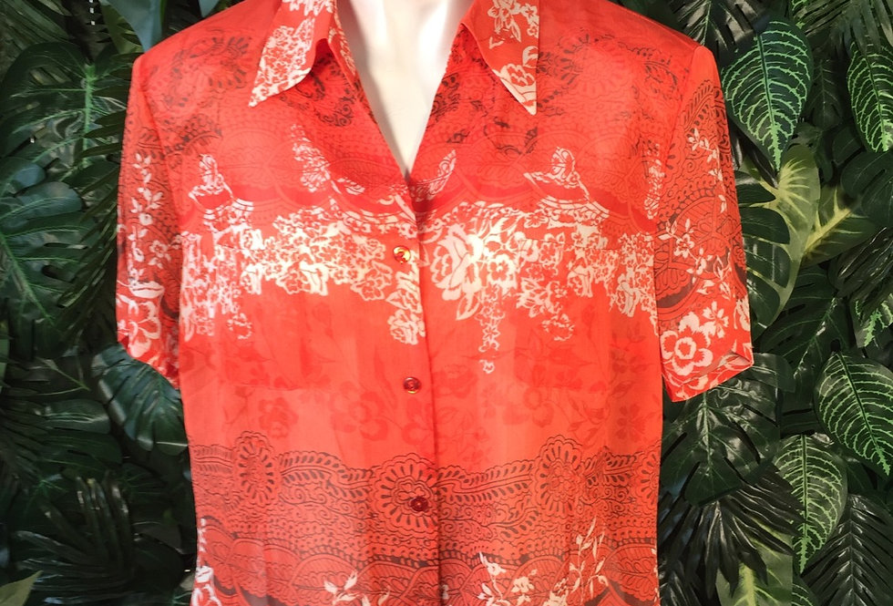 Coral semi sheer blouse (size 16)