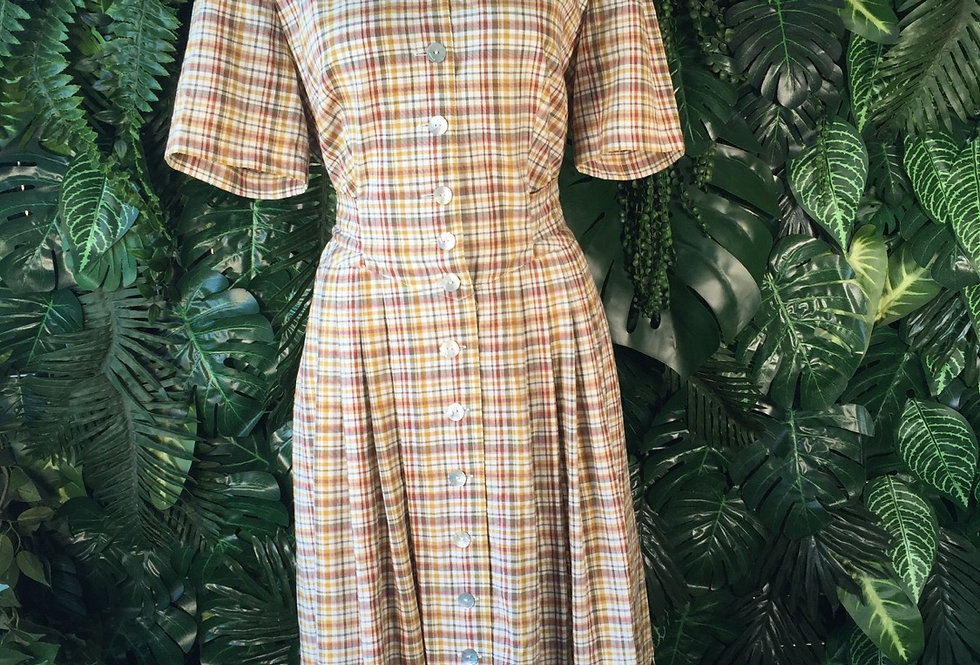 Sonja plaid shirt dress with mother of pearl buttons (size 14)