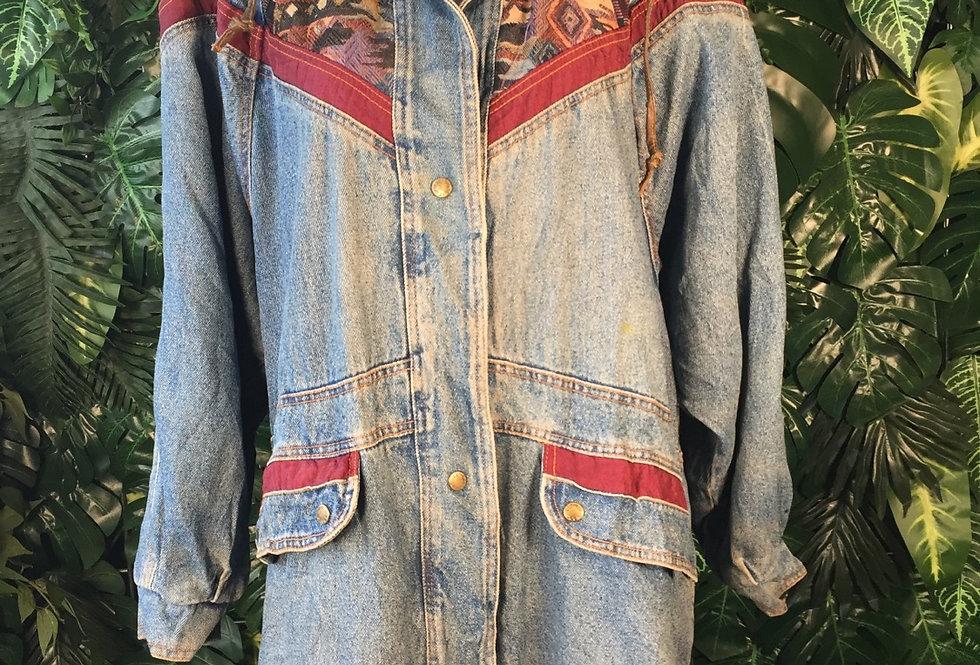 Denim seen brocade patch 90s coat (M)