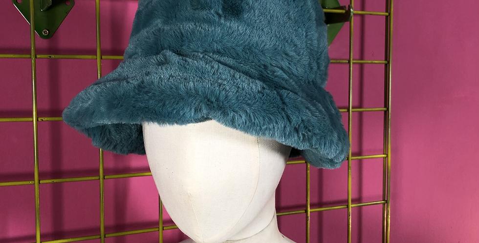 Peacock green faux fur hat
