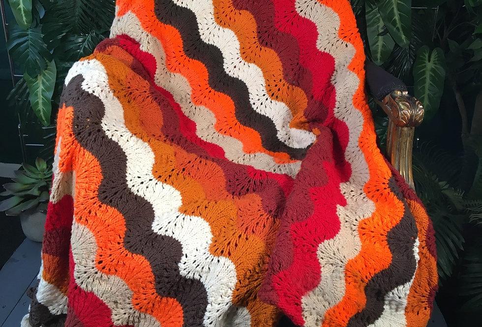 Large 70s Pattern Hans Knit Blanket