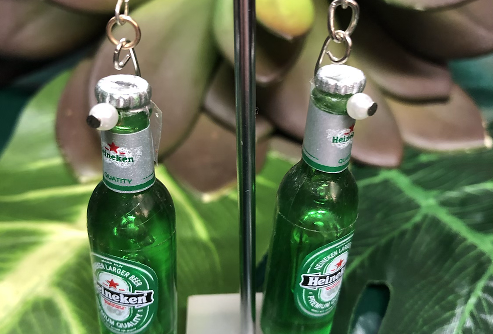 Heineken bottle earrings