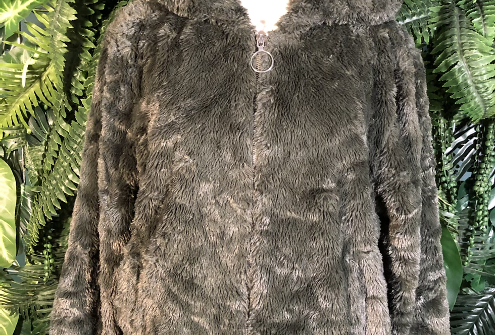 Me Jane army green faux fur