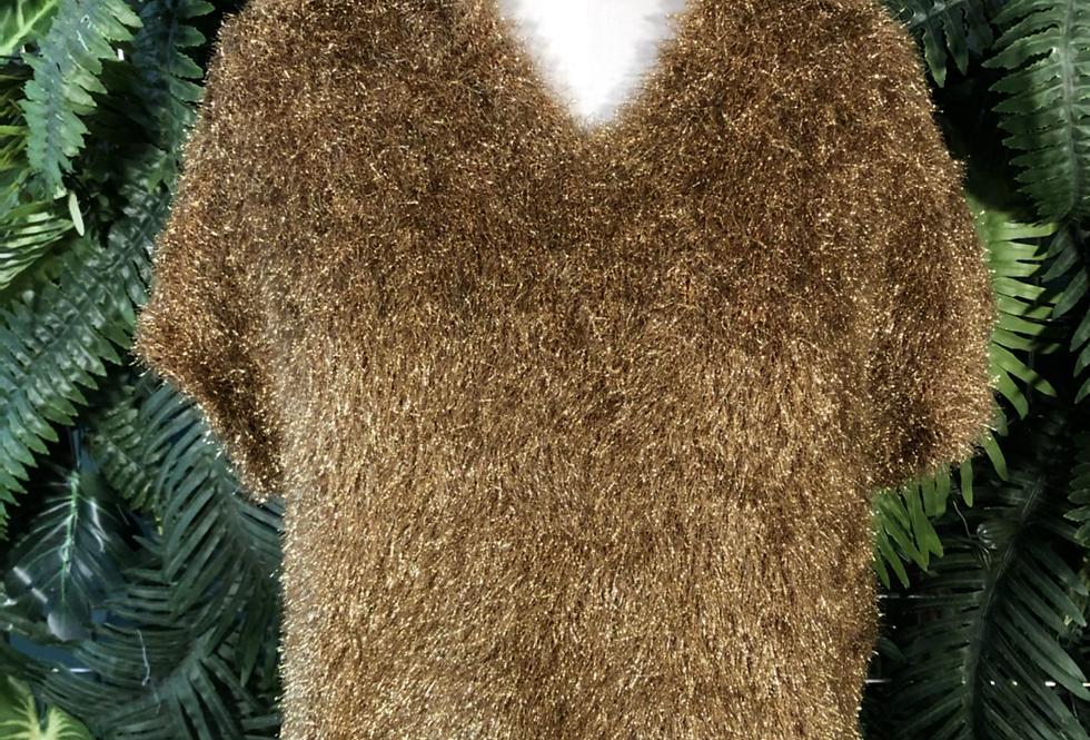 90s fluffy gold knit