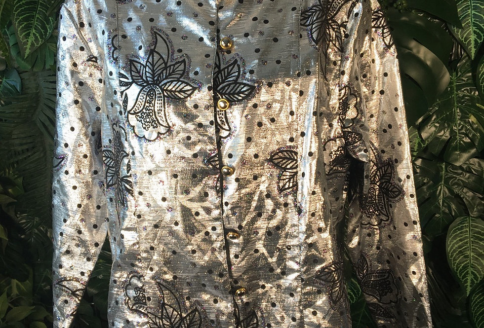 Silver jacket with glitter floral pattern (size 18)