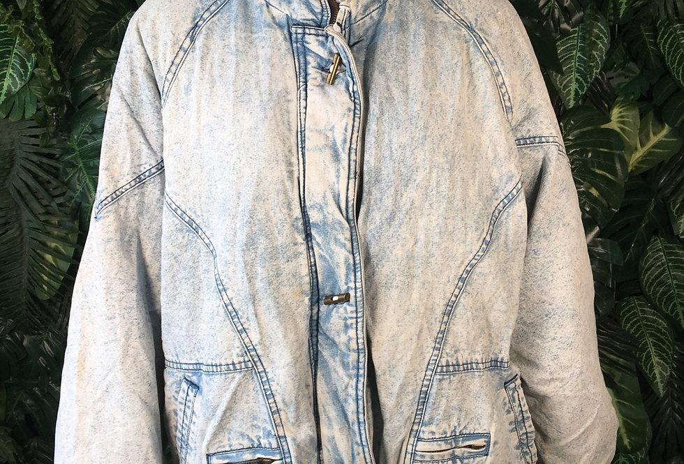 80s fleece lined acid wash coat (M)