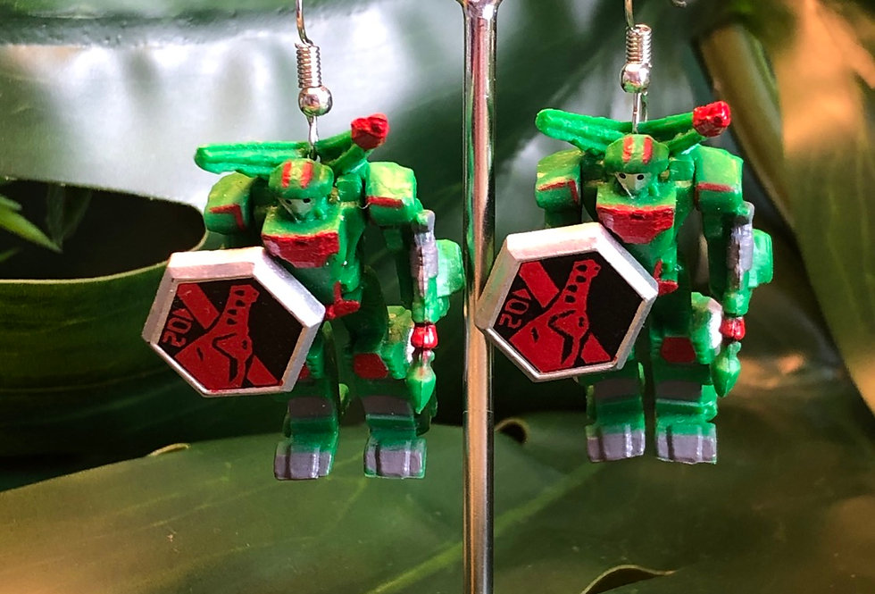 Green robot earrings