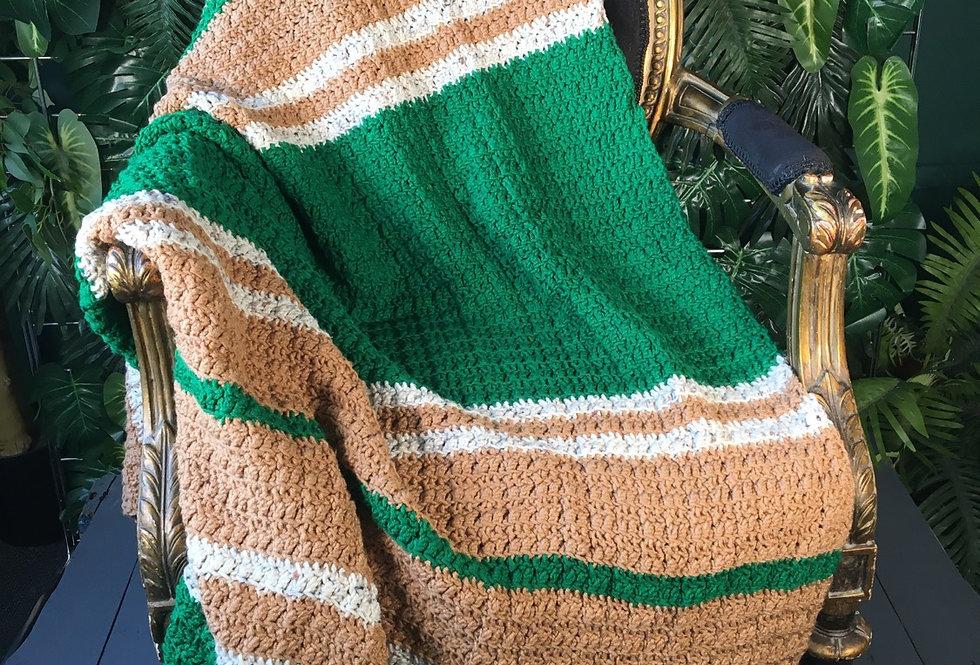 Stripe hand knit blanket