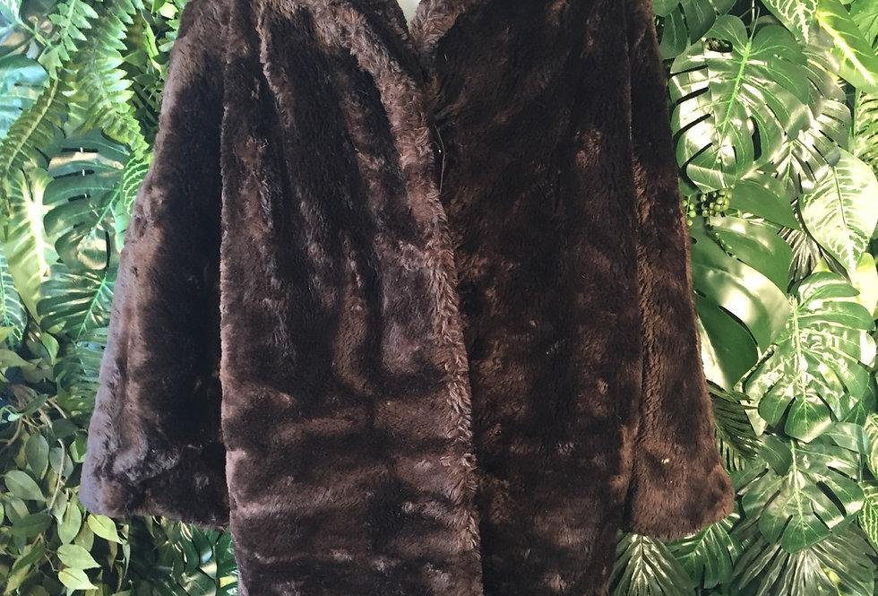 Heavy chocolate brown faux fur coat (L)