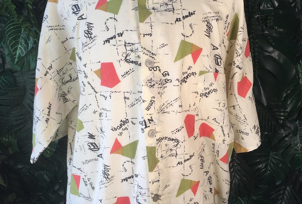 Abstract print resort shirt (L)