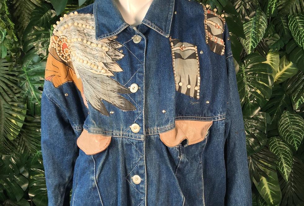 80s embellished denim jacket (M)