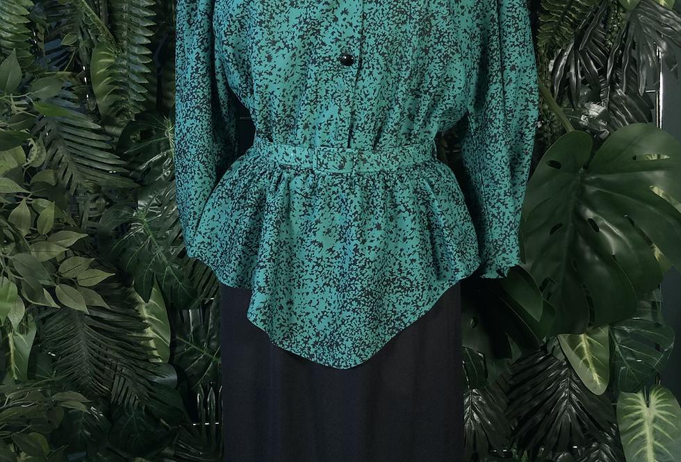 80s green & black dress
