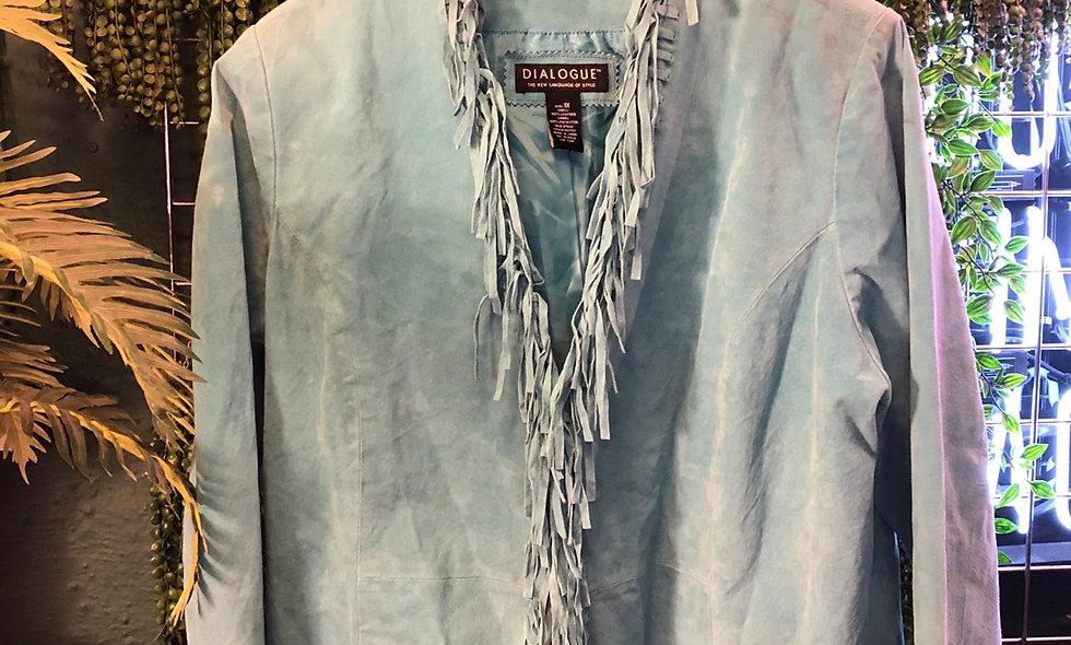 90s fringe blue suede jacket