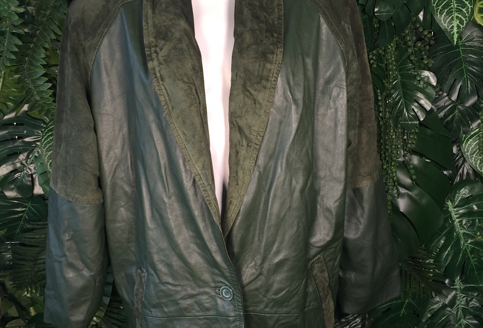 Original Terrazia sea green leather coat with suede patches (M)