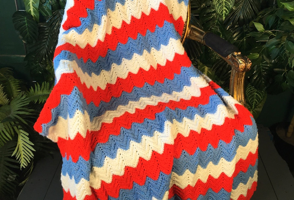 Red, white and blue handmade zig zag blanket