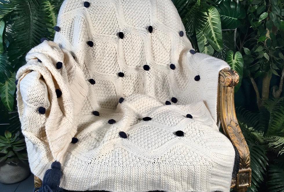Polka Dot Cable Knit Blanket