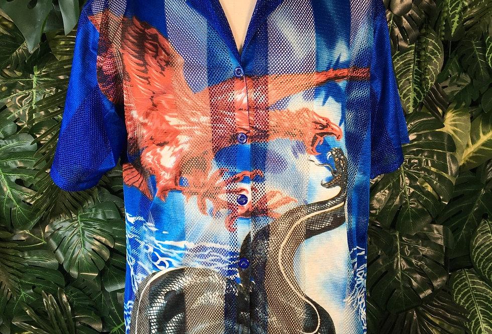 Y2K printed mesh shirt (XL)