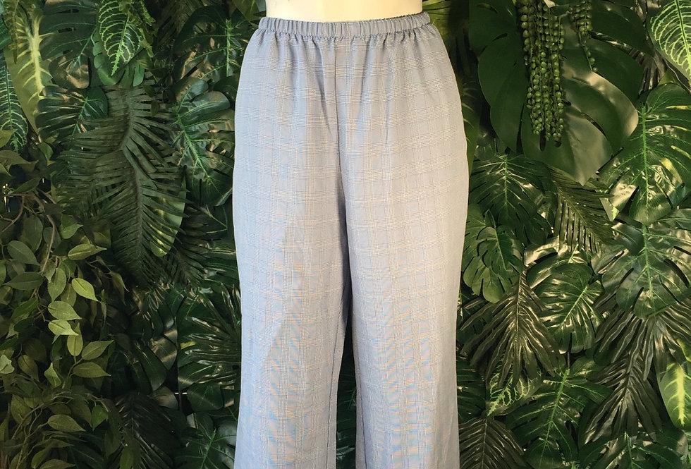 B Women blue plaid trousers (size 12)