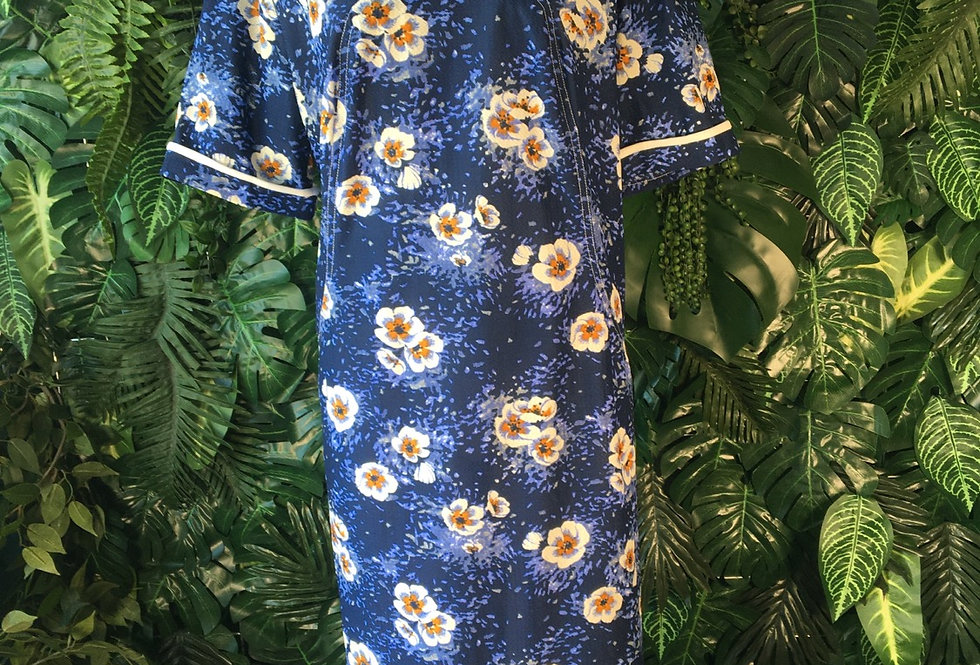 70s blue floral dress (size 18)
