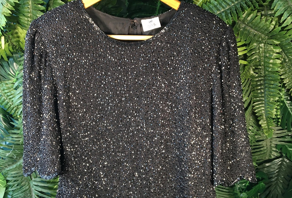 Silk Beaded Blouse With Scalloped Trim M