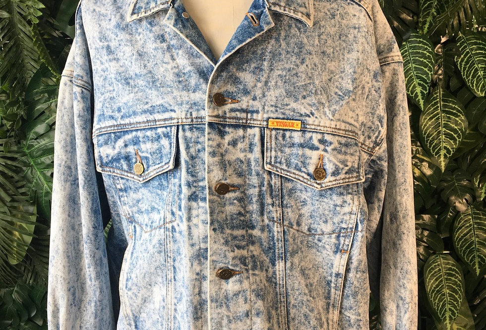 Vingar acid wash denim jacket (XL)