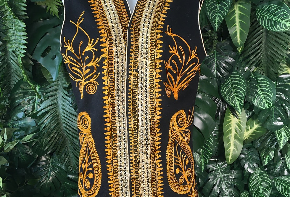 Black & gold embroidered waistcoat