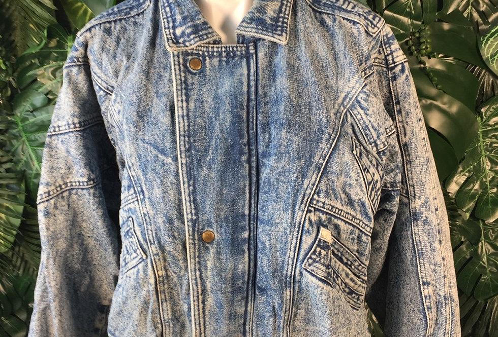 Spirit Denim fleece lined acid wash jacket (M)