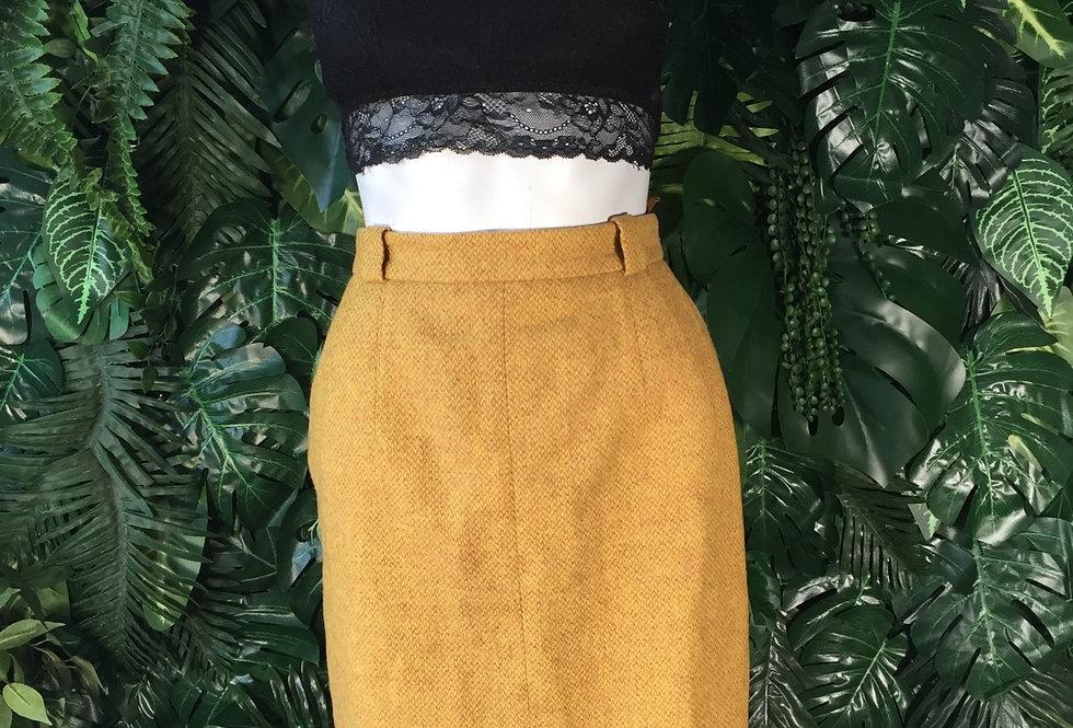 Mustard woven wool skirt (size 8)