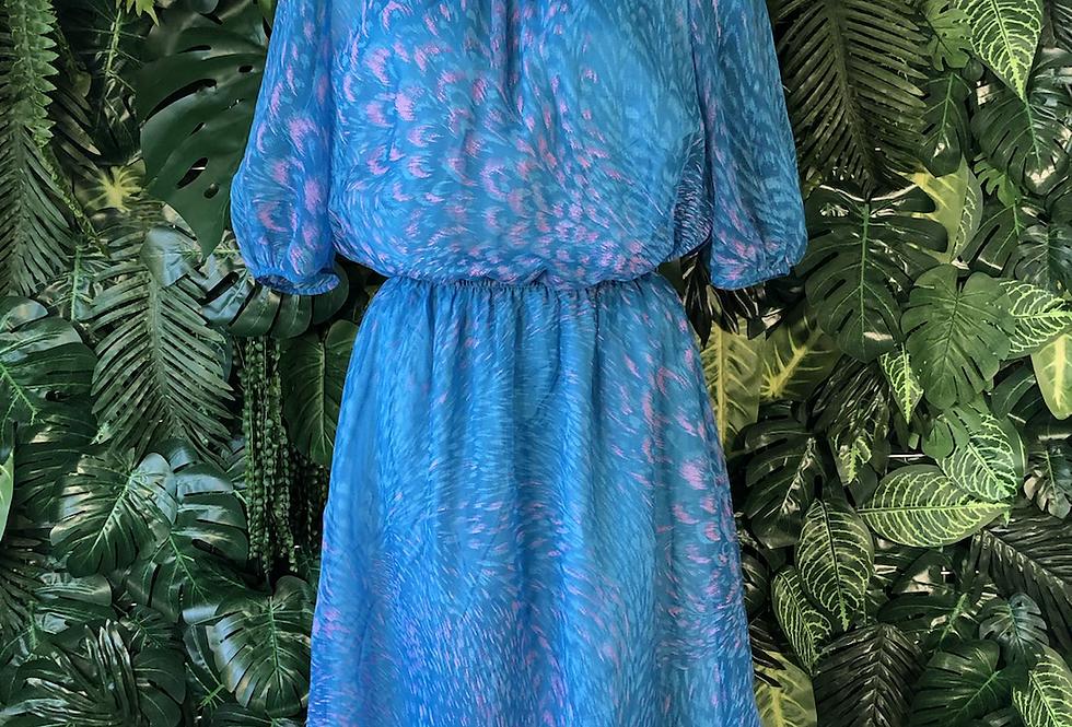 1970s feather summer dress