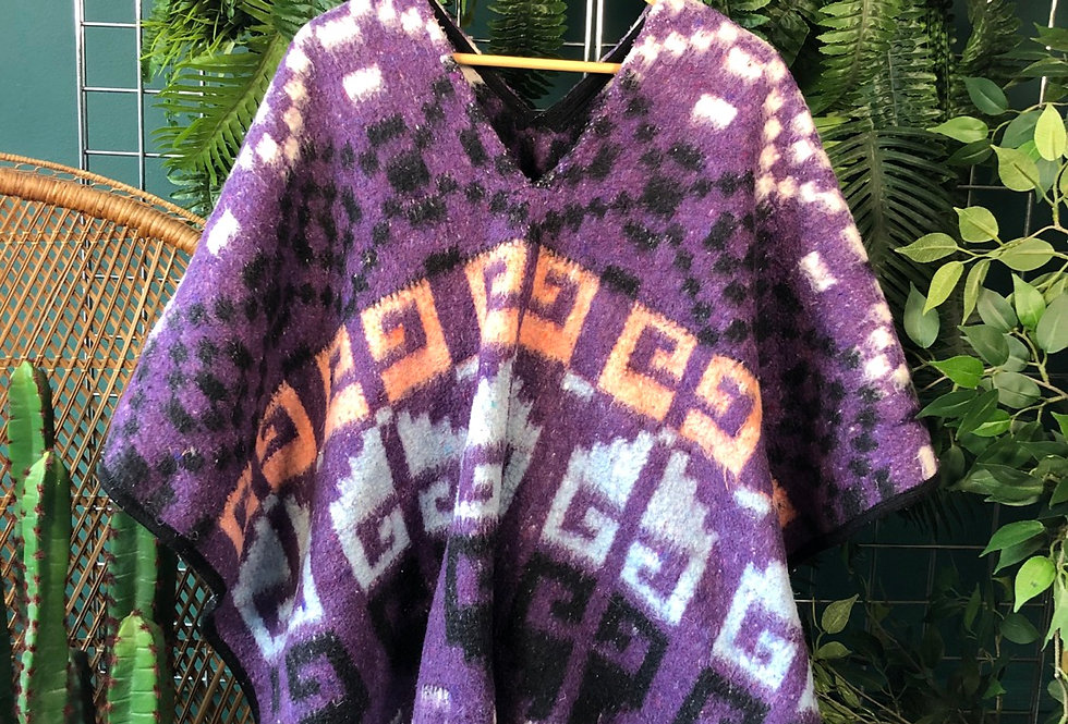 Authentic Western wool poncho