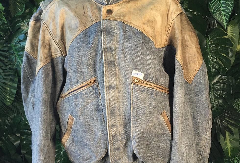 Original Guess leather panel denim jacket (L)