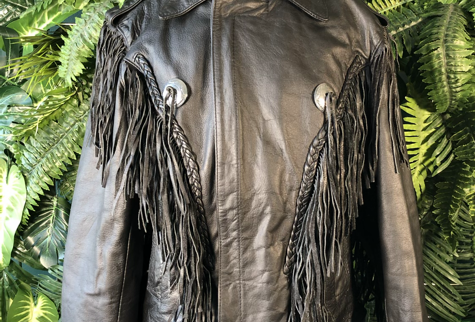 Leather fringe American biker jacket