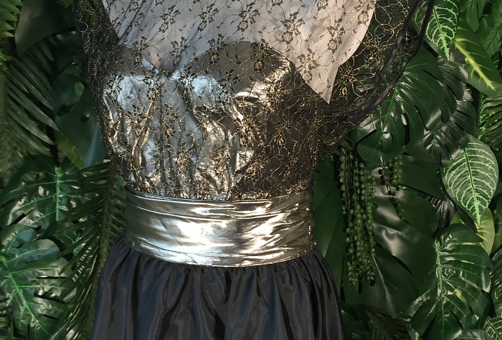 Black & gold saying prom dress with lace bust (size 10)