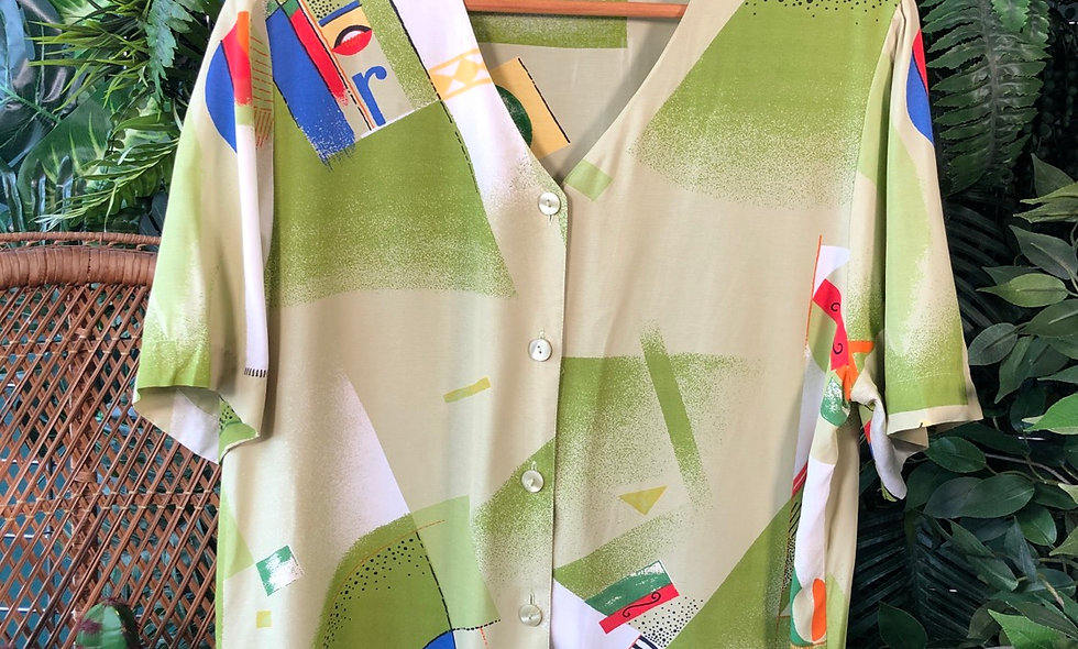 90s print blouse