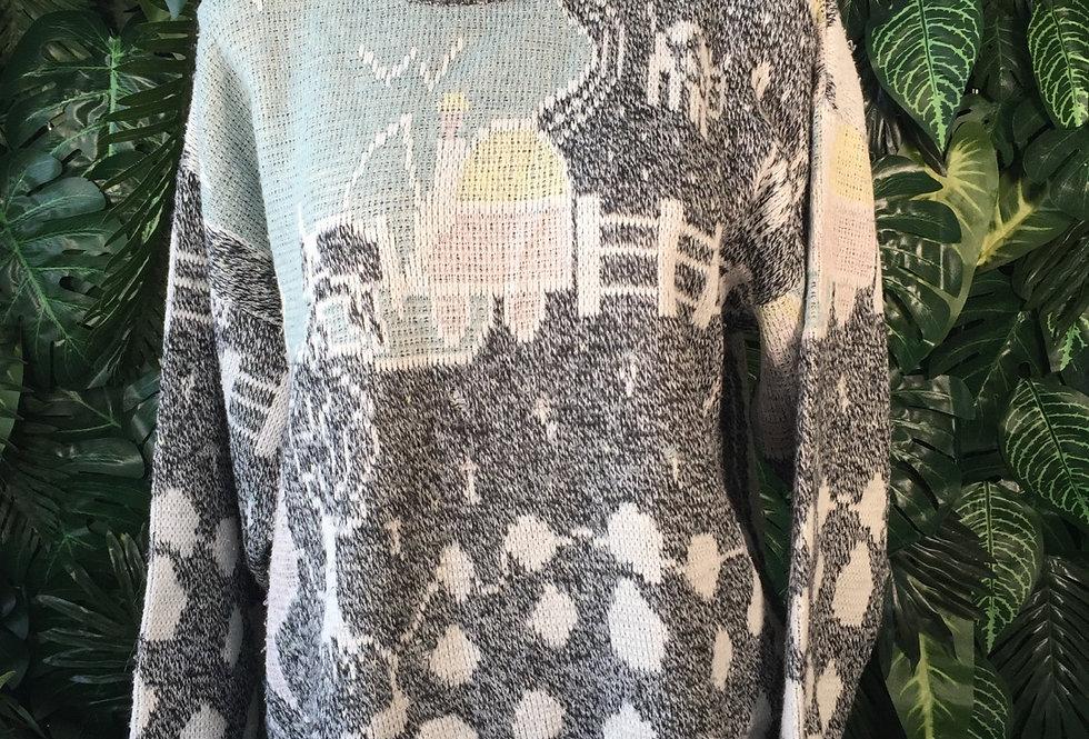 Farm print knit (L)